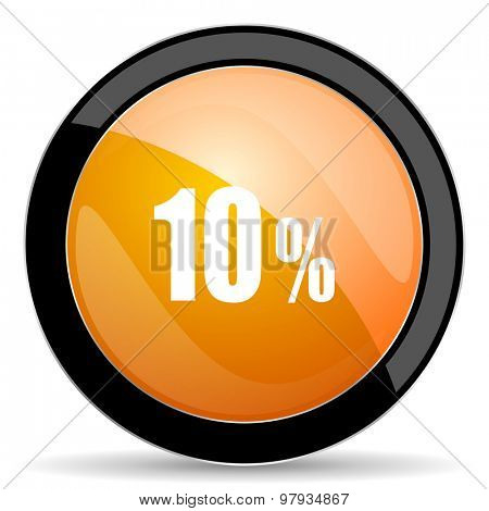 10 percent orange icon sale sign