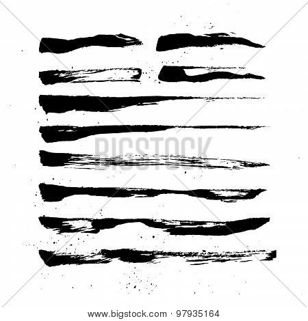 Hand Drawn Vector Vintage Texture. Abstract  Brush Strokes Collection. Ink And Feather