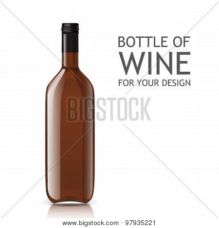 Transparent realistic empty bottle of wine