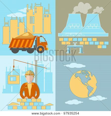 Construction, Development Plant, New Buildings, Global Industry, Construction Site, Workers, Trucks