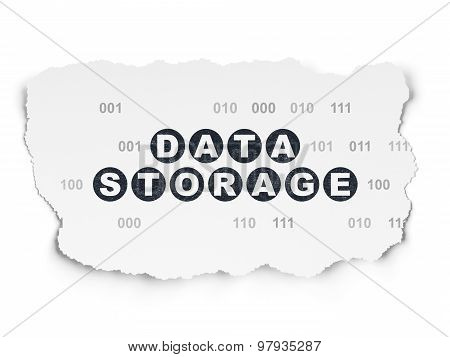Information concept: Data Storage on Torn Paper background