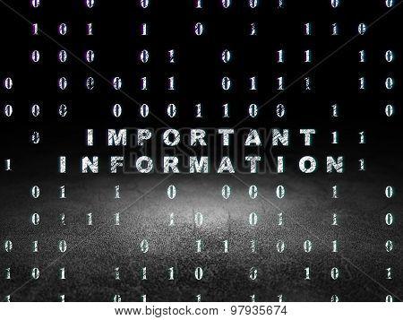 Information concept: Important Information in grunge dark room