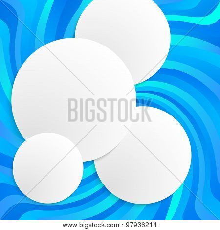 Blue Spiral Twist Abstract White Circles Glow Effect 3D