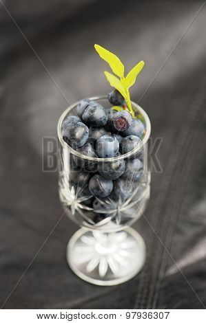 Wild Blueberries With Fresh Green Leaves In Small Wineglass On Black Leather Background
