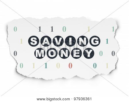 Business concept: Saving Money on Torn Paper background