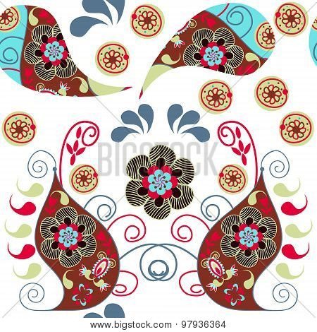Paisley Colorful  Odd Seamless Pattern And Seamless Pattern In Swatch Menu, Vector Illustration. Cut