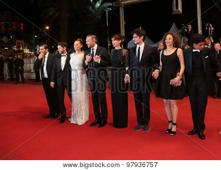 Vincent Cassel, actress Emmanuelle Bercot an film team attend 'Mon Roi' Premiere during the 68th annual Cannes Film Festival on May 17, 2015 in Cannes, France.