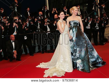 Actress Rooney Mara, Cate Blanchett attend the 'Carol' Premiere during the 68th annual Cannes Film Festival on May 17, 2015 in Cannes, France.