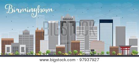 Birmingham (Alabama) Skyline with Grey Buildings and Blue Sky. Vector Illustration