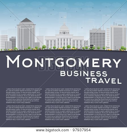 Montgomery Skyline with Grey Building, Blue Sky and copy space. Alabama. Vector Illustration