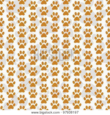 Orange And White Dog Paw Prints Tile Pattern Repeat Background