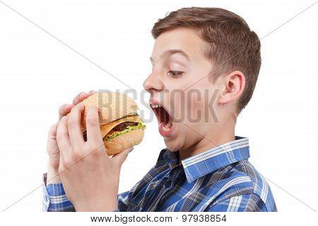 Hungry Teenager Wants To Eat A Big Hamburger