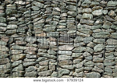 Gabion wall caged stones