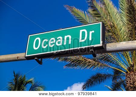 Street Sign Of Famous Street Ocean Drive In Miami.
