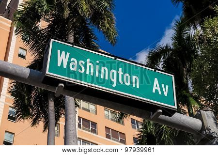 Street Sign Of Washington Avenue In Miami South Beach