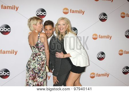 LOS ANGELES - AUG 4:  Chelsea Kane, Jean-Luc Bilodeau, Melissa Peterman at the ABC TCA Summer Press Tour 2015 Party at the Beverly Hilton Hotel on August 4, 2015 in Beverly Hills, CA