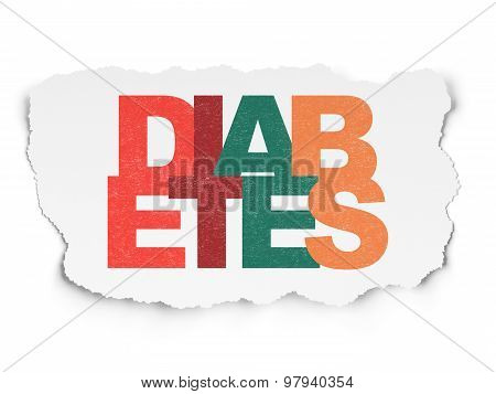 Health concept: Diabetes on Torn Paper background