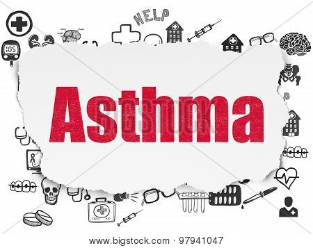 Medicine concept: Asthma on Torn Paper background