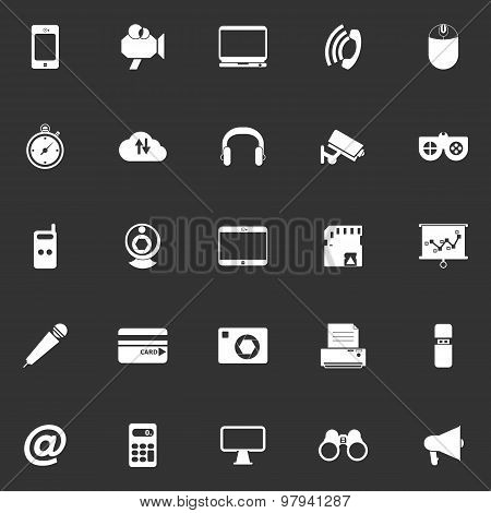 Gadget Icons On Gray Background