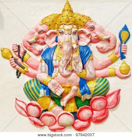 God Of Success 29 Of 32 Posture. Indian Or Hindu God Ganesha Avatar Image In Stucco