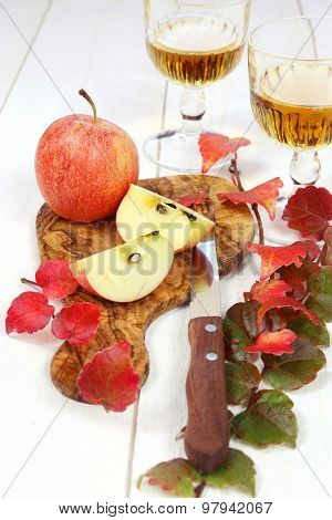 Apple Juice, Apples And Autumn Leaves