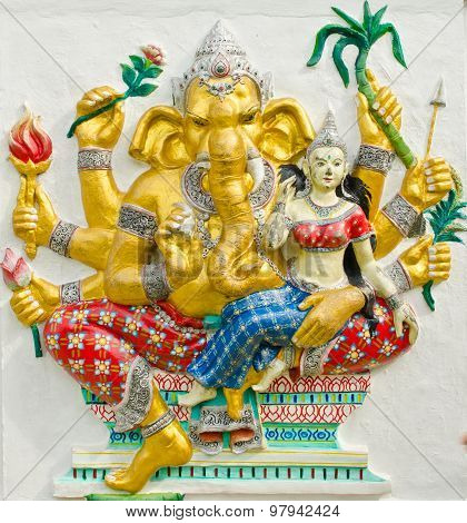 God Of Success 30 Of 32 Posture. Indian Or Hindu God Ganesha Avatar Image In Stucco