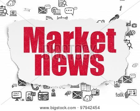 News concept: Market News on Torn Paper background