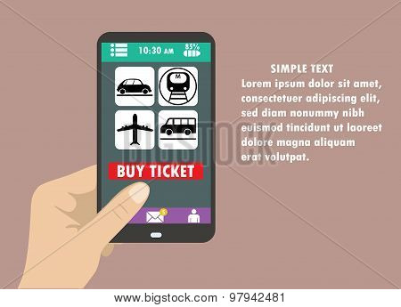 Flat Design Style Vector Illustration Of Modern Smartphone With