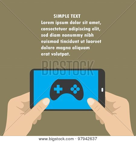 Hand Holding Smart Phone, The Screen Icon Game Controller.
