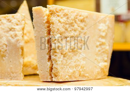 Piece Of Grana Padano Or Parmigiano Reggiano Aka Parmesan Cheese