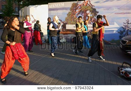 Street dance at the Night of the Arts festival in Helsinki, Finland