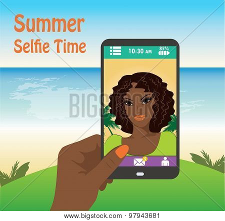 Flat Girl Taking Selfie By Mobile Phone On The Beach