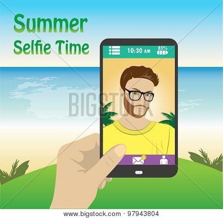 Flat Character Taking Selfie By Mobile Phone On The Beach