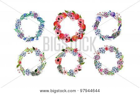 Watercolor flowers wreath set