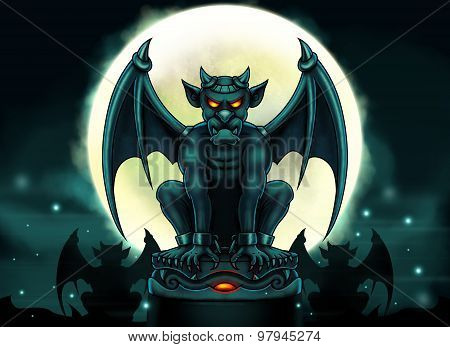 Halloween Gargoyle Illustration - Digital Painting
