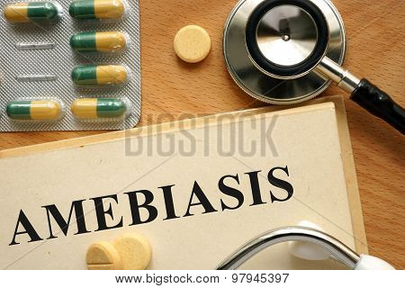 Word  Amebiasis. Medical concept.
