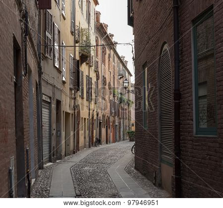 Ancient Medieval Street In The Downtown Of Ferrara City