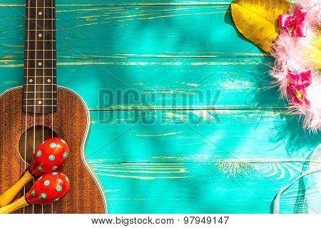Ukulele Background / Ukulele / Ukulele With Hawaii Style Background