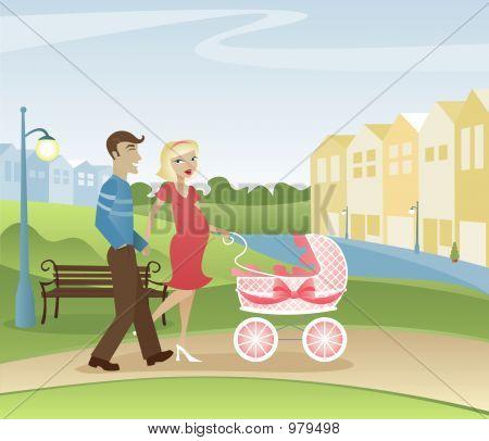Padres paseando en el Parque