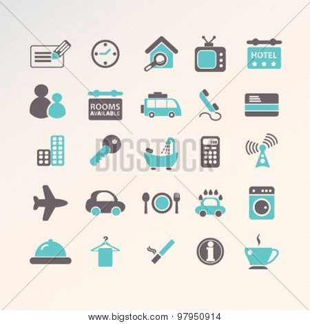 hotel, motel, restaurant, room service flat isolated icons, signs, illustrations set, vector