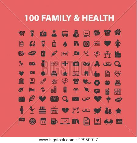 100 family health care isolated icons, illustrations, signs vector set