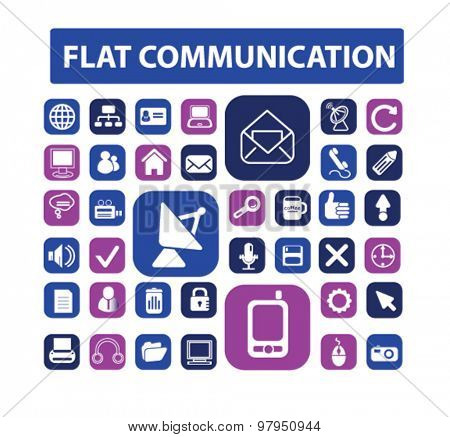 flat communication, connection icons, signs, illustrations set, vector