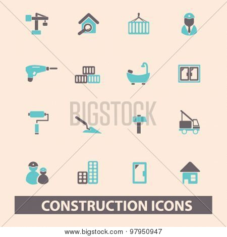 construction, repair flat isolated icons, signs, illustrations set, vector