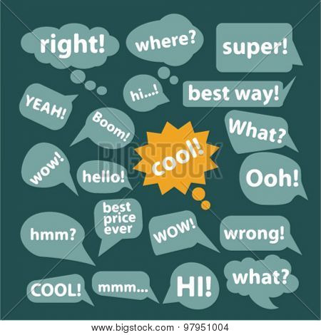 speech, chat isolated flat web icons, signs, illustrations set, vector
