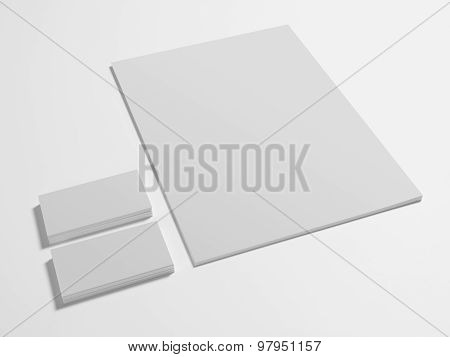 Empty branding stationery with business cards