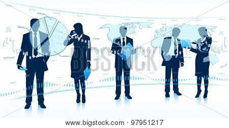Silhouettes of Businessmen and Business Women with Touch Screen