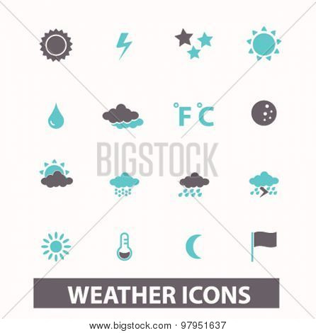 weather, climate flat isolated icons, signs, illustrations set, vector