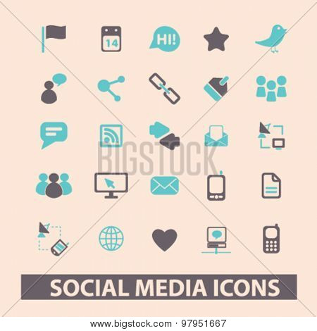 social media, network, blog, community flat isolated icons, signs, illustrations set, vector