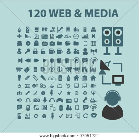 media, internet flat isolated web icons, signs, illustrations set, vector