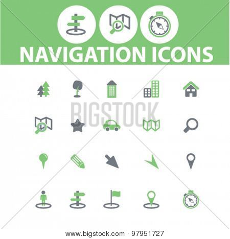 navigation, map, gps flat web isolated icons, signs, illustrations set, vector on background